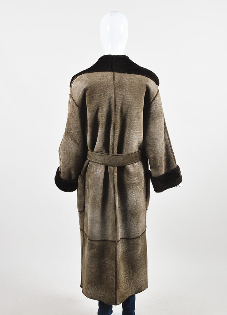 Fendi Brown Shearling Leather Fur Full Length Belted Coat Backview