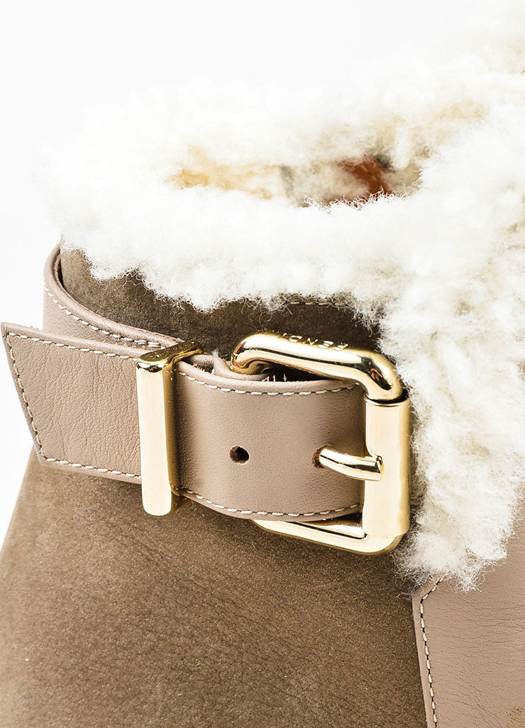 Fendi Taupe Shearling Lined Buckle Detail Wedge Booties Detail