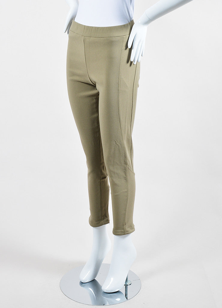 Khaki Beige Givenchy Cotton Nylon Blend Stretch Zip Skinny Moto Leggings Sideview