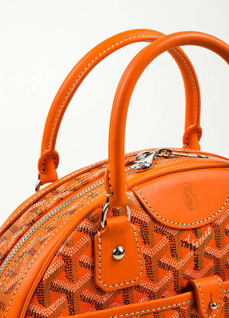 "Goyard Orange Coated Canvas and Leather Chevron Print ""Sainte Jeanne PM"" Satchel Bag Detail 2"