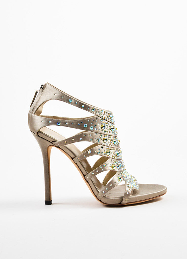 Grey and Taupe Gucci Satin Iridescent Rhinestone Cage Sandal Heels Sideview