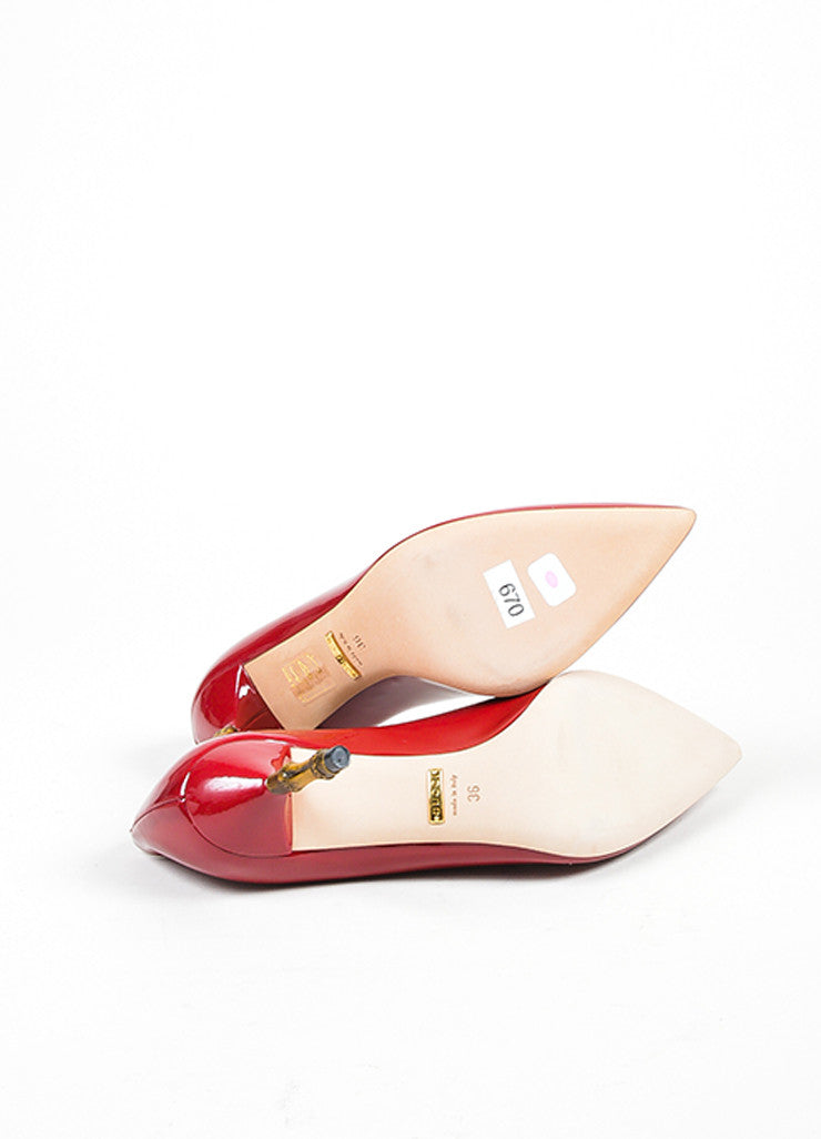 "Gucci Berry Patent Leather Pointed Bamboo Heel ""Kristen"" Pumps Outsoles"