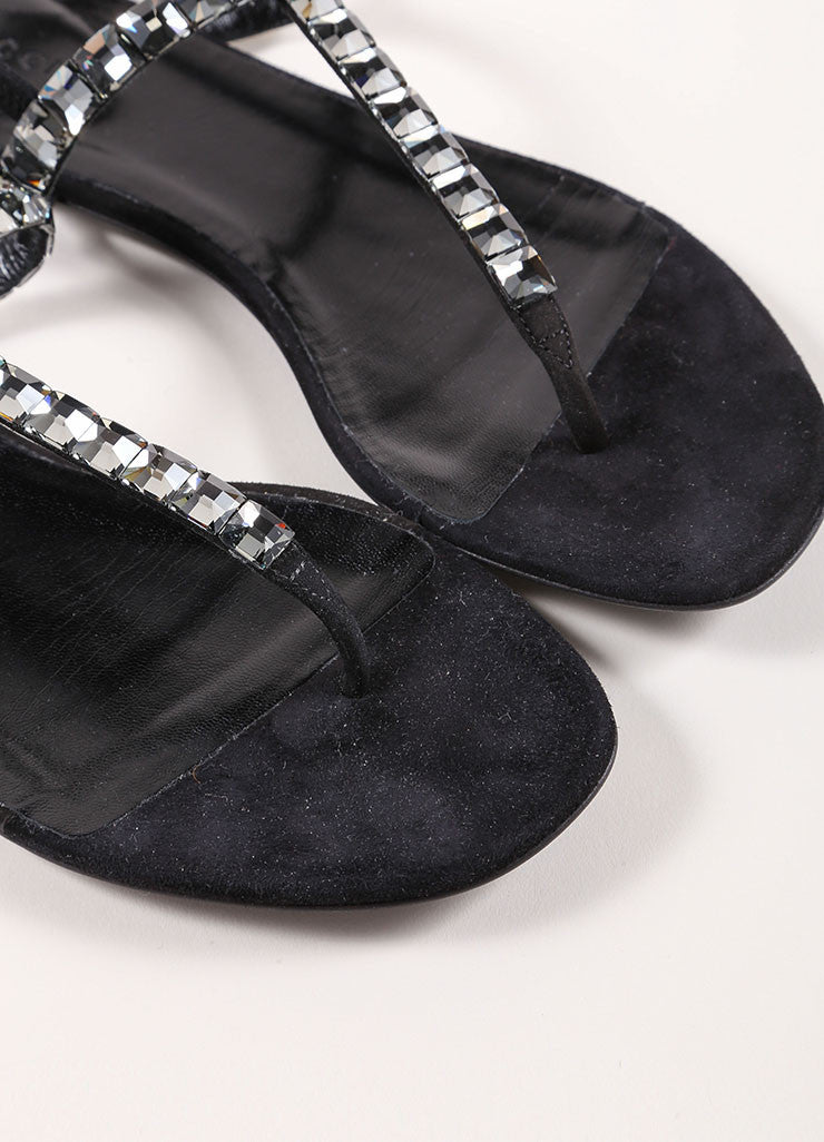 Gucci Black Suede Crystal Jeweled Thong Sandals Toe