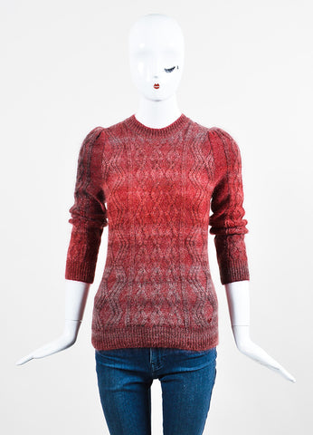 Red and Grey Gucci Mohair, Silk, and Wool Cable Knit Sweater Frontview