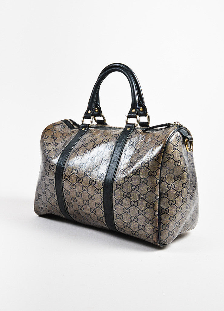 "Taupe Navy Gold Gucci Coated Canvas Leather Monogram ""Joy Boston"" Bag Side"