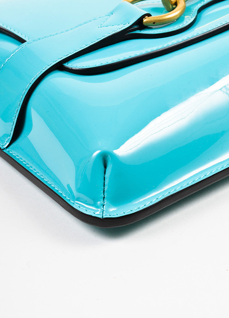 "Gucci Turquoise Patent Leather Gold Toned Horsebit Flap ""Bright Bit"" Clutch Bag Detail"