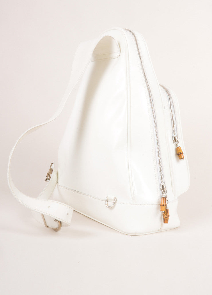 Gucci White Leather Slingback Bamboo Backpack Sideview