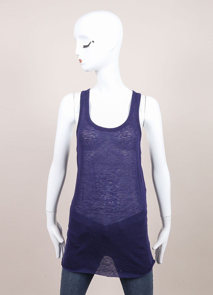 "Haider Ackermann New With Tags Navy Wool Blend Knit ""Sforza"" Tank Top Frontview"