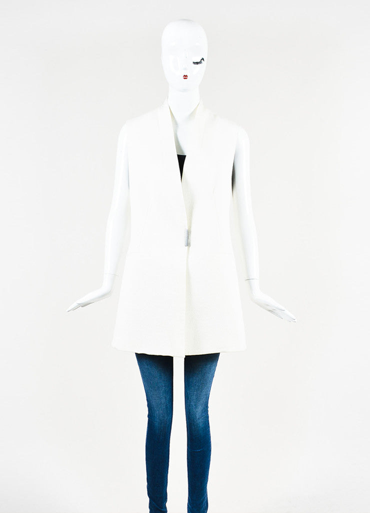 Helmut Lang Cream Crepe Textured Collarless Long Vest Frontview 2
