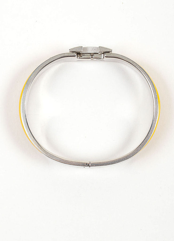 "Silver Toned and Yellow Enamel Hermes ""Clic H PM"" Hinged Narrow Bangle Bracelet Topview"