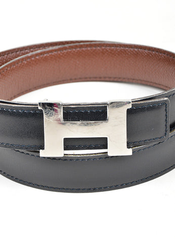 "Black and Brown Leather Reversible Hermes ""Constance"" Belt Detail"