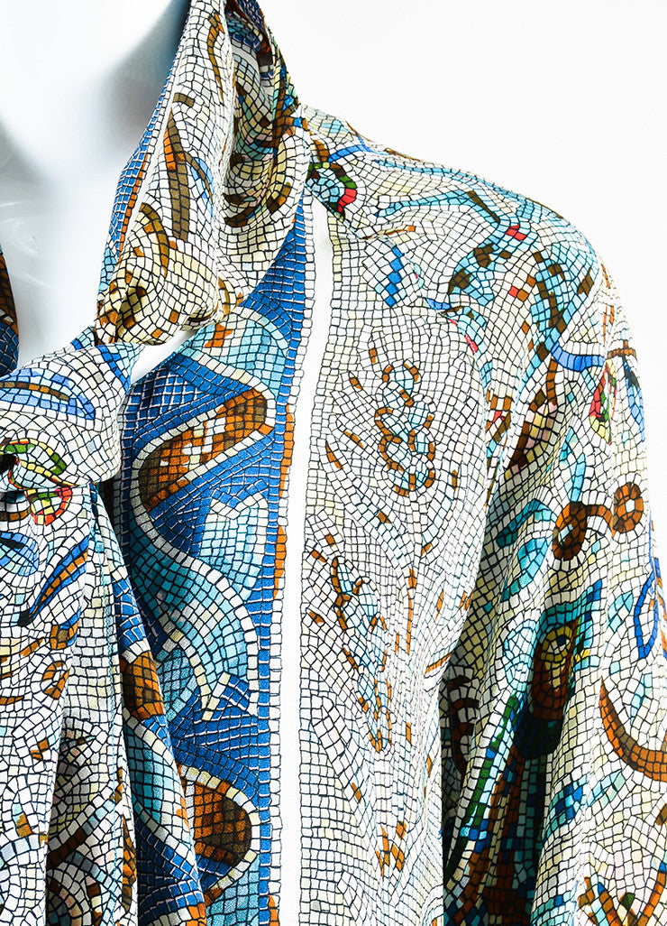 Hermes Blue and Multicolor Silk Floral Mosaic Print Long Sleeve Blouse Top Detail