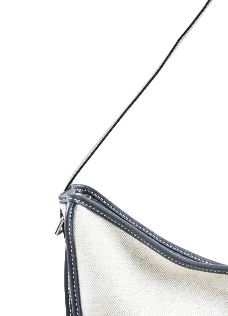 "Hermes Cream and Grey Leather and Canvas Chevron Woven ""Jumping"" Shoulder Bag Detail 2"