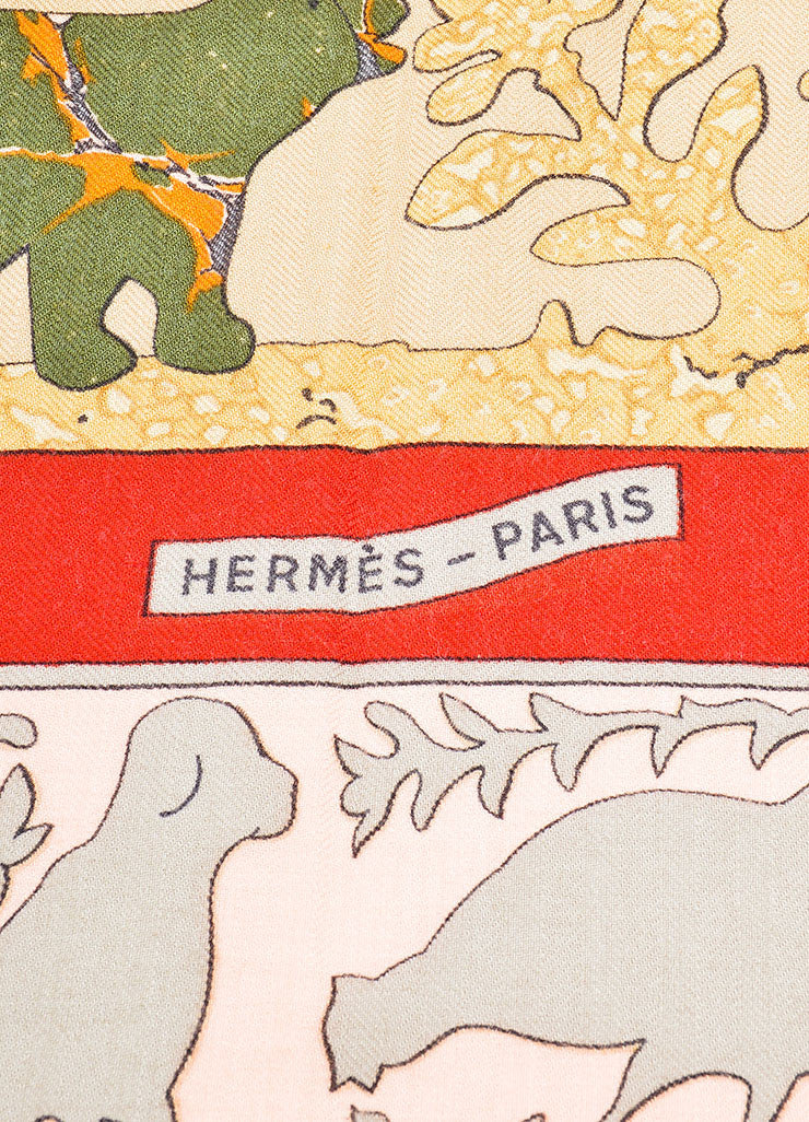 "Hermes Tan and Red Cashmere and Silk ""Early America"" 140cm Scarf Brand"