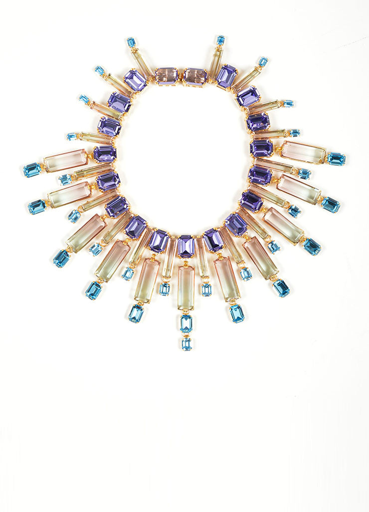 "Gold Toned, Purple, and Blue Swarovski Crystal House of Lavande ""Oceana"" Necklace Frontview"