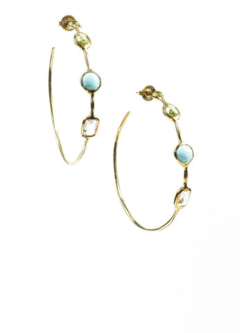 "18K Yellow Gold, Tuquoise, Green Topaz, and Quartz Ippolita ""Rock Candy"" Hoop Earrings Frontview"