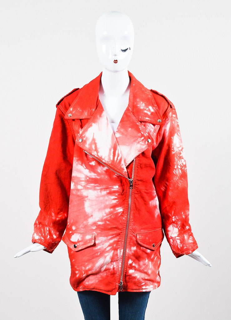 "Red and White Isabel Marant Stretch Cotton Denim Tie Dye Moto ""Idini"" Jacket Frontview 2"