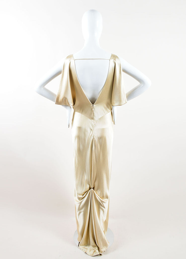 J. Mendel Champagne Satin Open Back V Neck Draped Gown Backview