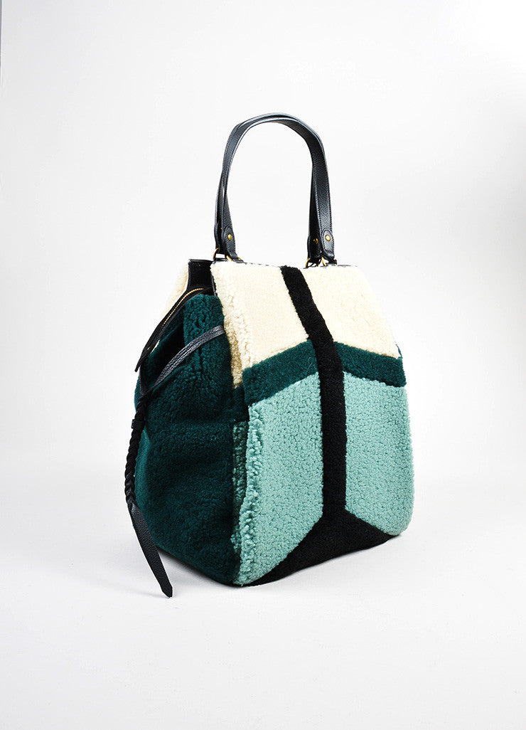 "Green and Beige Jerome Dreyfuss Shearling and Leather ""Anatole"" Tote Bag Sideview"