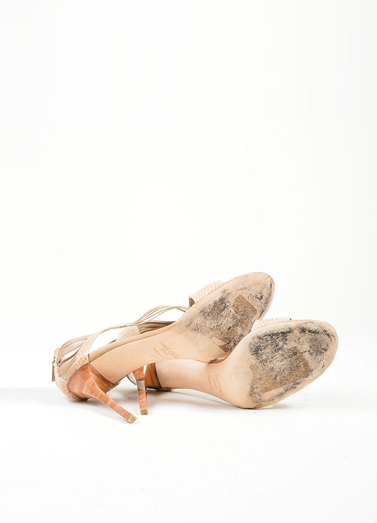"""Foundation"" Nude Snakeskin Leather High Heel Jimmy Choo ""Cat"" Sandals Outsoles"