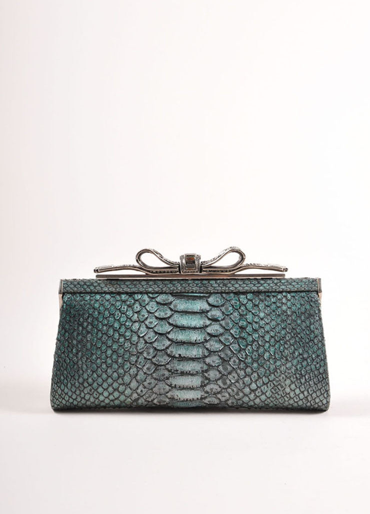 "Judith Leiber Teal Snakeskin Rhinestone Embellished Bow ""Tatiana"" Clutch Bag Frontview"