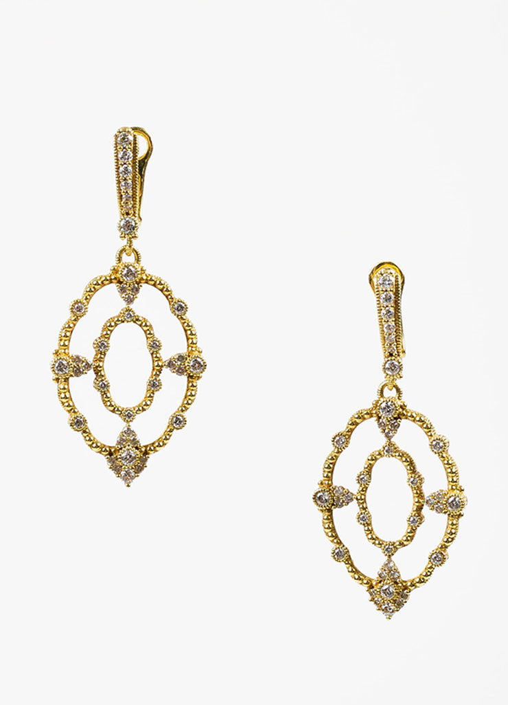 Judith Ripka Laurel Collection 18K Yellow Gold Diamond Oval Drop Earrings Frontview