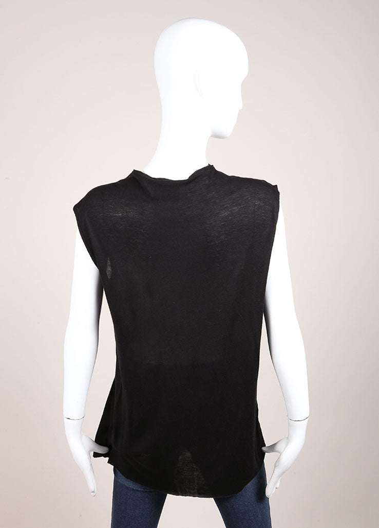 Lanvin Black Knit Ribbed Bow Pleated Sleeveless Top Backview