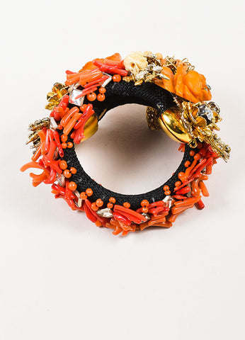 Black, Coral, and Gold Toned Lawrence Vrba Floral Rhinestone Statement Wrap Bracelet Topview