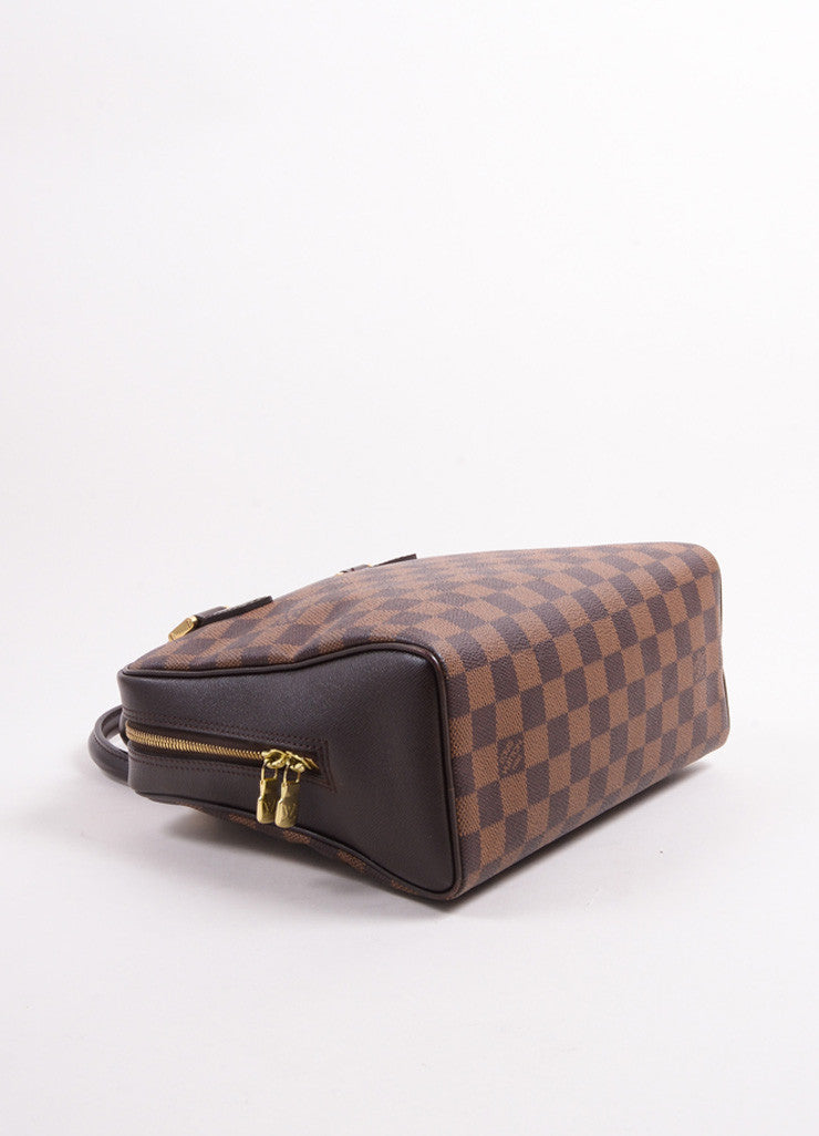 "Louis Vuitton Brown Canvas and Leather Checkered ""Damier Ebene Brera"" Tote Bag Bottom View"