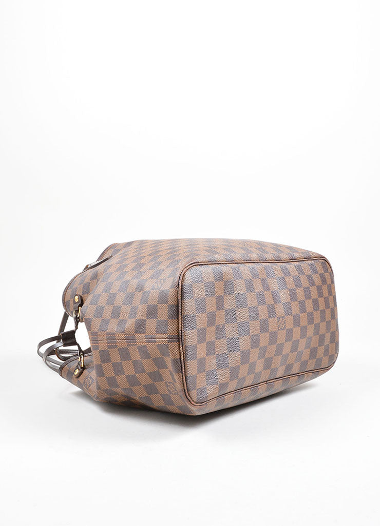 "Louis Vuitton Brown Coated Canvas ""Damier"" Tote Handbag Bottom"