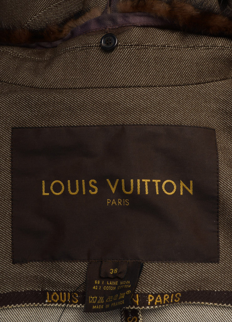 Louis Vuitton Brown and White Wool and Denim Blend Removable Fur Collar Jacket Brand