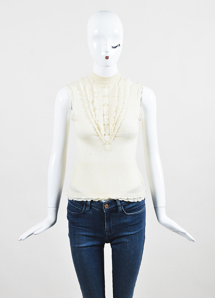 Louis Vuitton Cream Cashmere and Silk Knit Ruffle Faux Pearl Buttoned Sleeveless Top Frontview