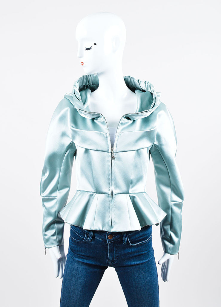 Powder Blue Louis Vuitton Silk Hooded Peplum Jacket Front