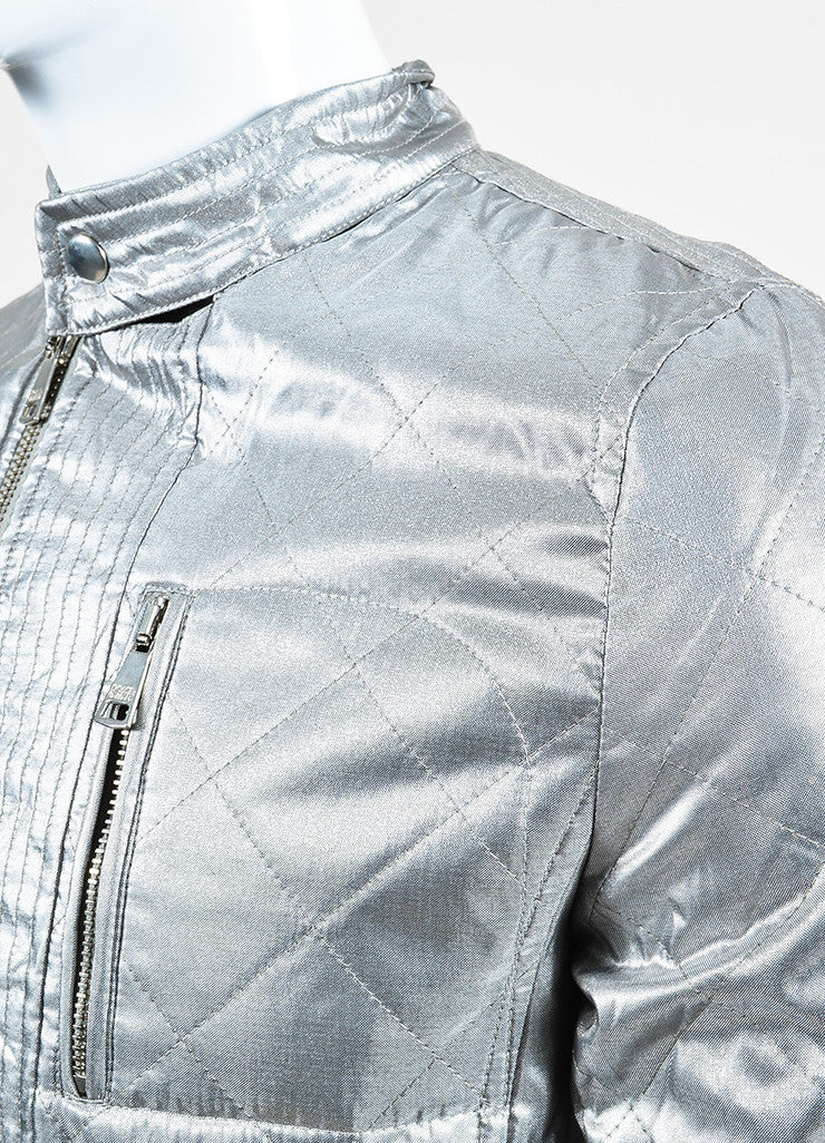 Men's Dolce & Gabbana Metallic Silver Quilted Moto Jacket Detail