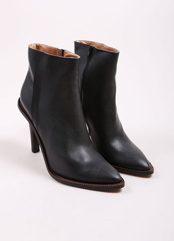 Maison Martin Margiela Black Leather Pointed Toe Stacked Heel Ankle Boots Frontview