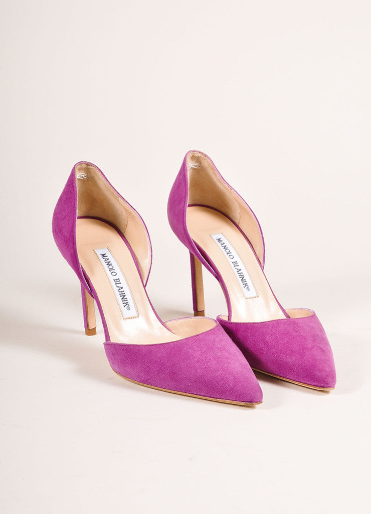 "Manolo Blahnik New In Box Purple Suede Leather Pointed Toe ""Tayler"" Pumps Frontview"