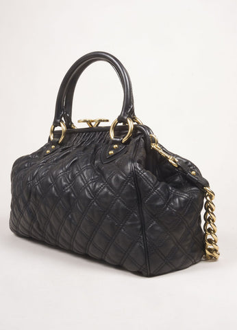 "Marc Jacobs Black Leather Quilted Chain Strap ""Stam"" Bag Sideview"