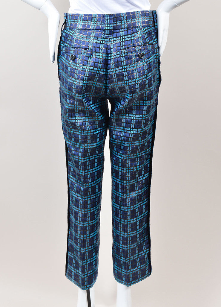 Marc Jacobs Blue and Black Metallic Silk Windowpane Plaid Cropped Trousers Backview