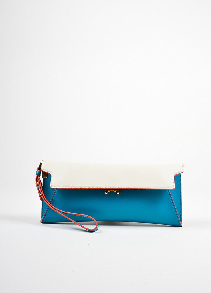 "Blue and Cream ""Vivid Blue Antic White"" Marni Leather ""Origami"" Clutch Bag Frontview"