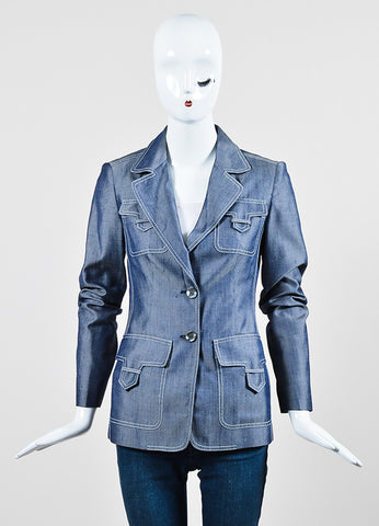 Michael Kors Navy Blue and White Silk Twill Denim Button Up Jacket Frontview 2