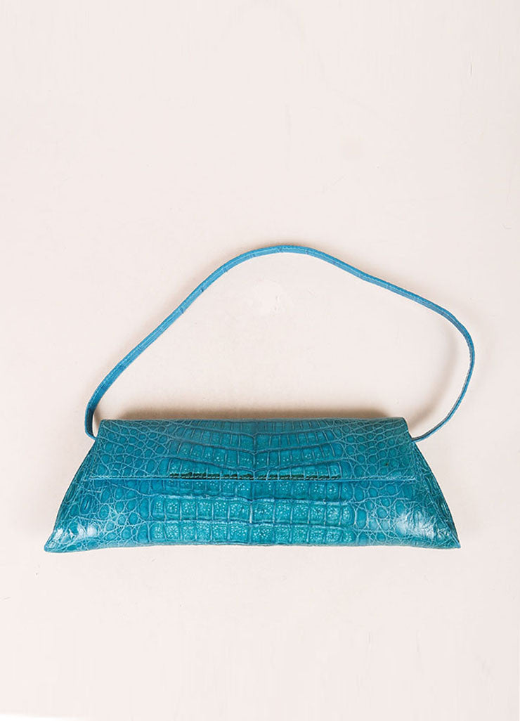 Nancy Gonzalez Teal Crocodile Trapezoid Clutch Bag Frontview