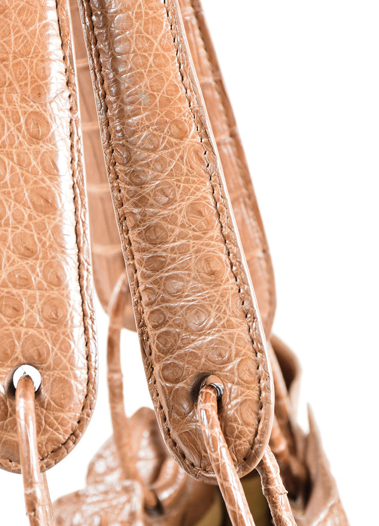 Nancy Gonzalez Taupe Crocodile Drawstring Tote Bag Detail 2