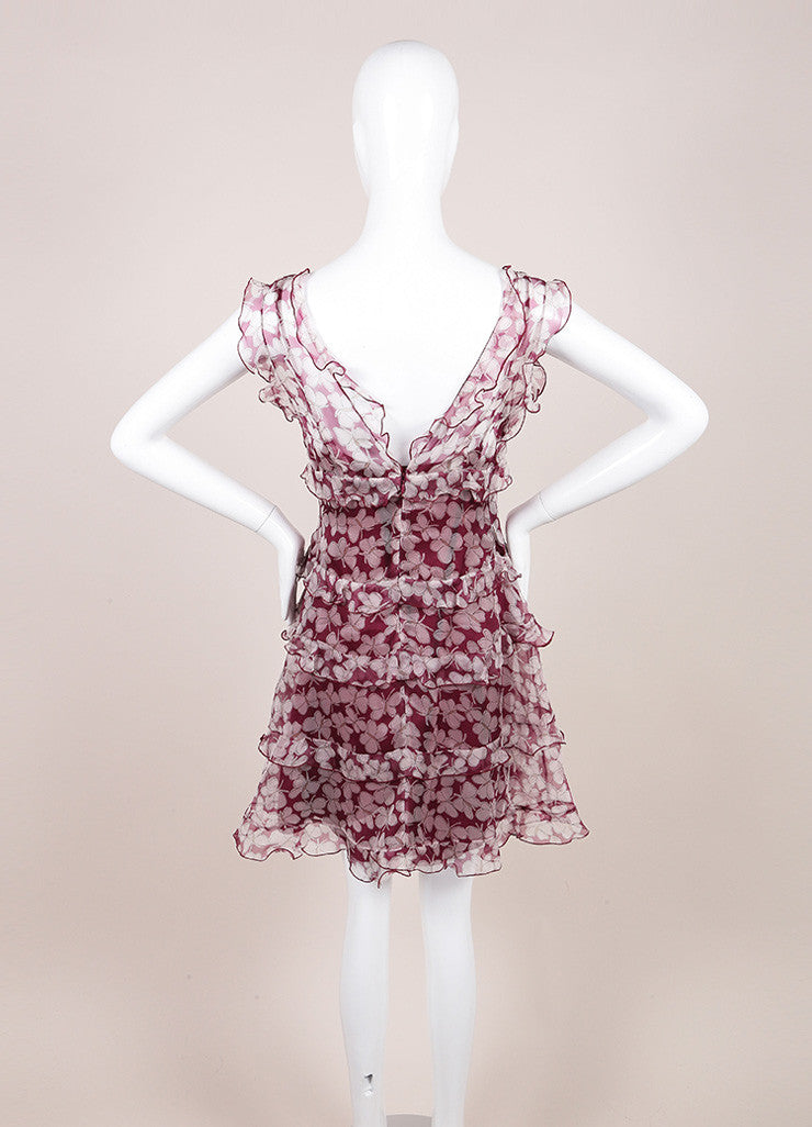 Nina Ricci Purple and White Butterfly Print Silk Organza Dress Backview