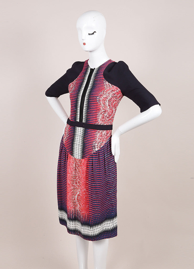 Peter Pilotto Multicolor Printed Mid Sleeve Front Zip Sheath Dress  Sideview