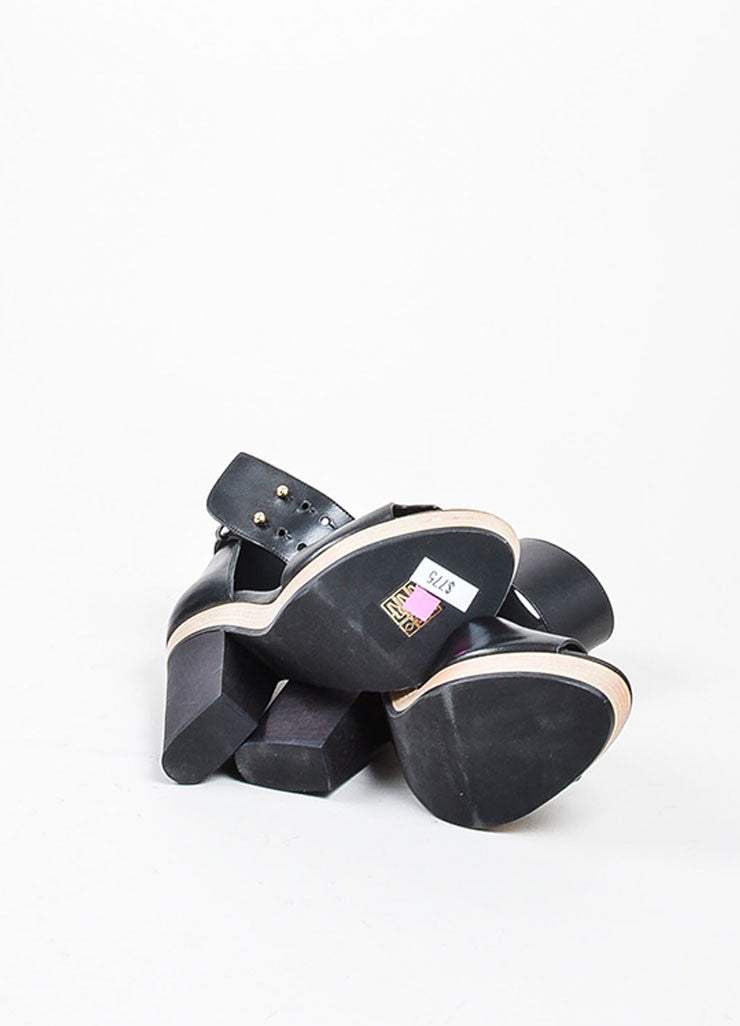 Black Pierre Hardy Leather Wooden Block Heel Sandals Outsoles