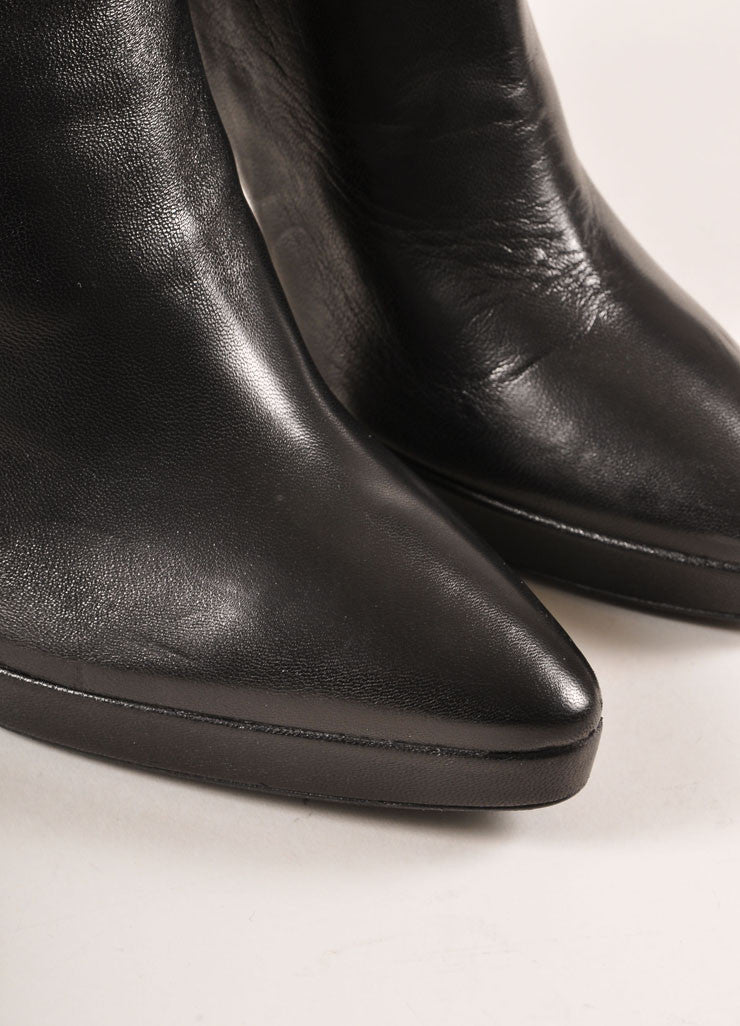 Prada Black Ruched Panel Knee High Pointed Toe Heeled Leather Boots Detail