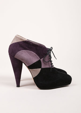 Prada Black and Purple Suede Patchwork Color Block Lace Up Platform Booties Sideview