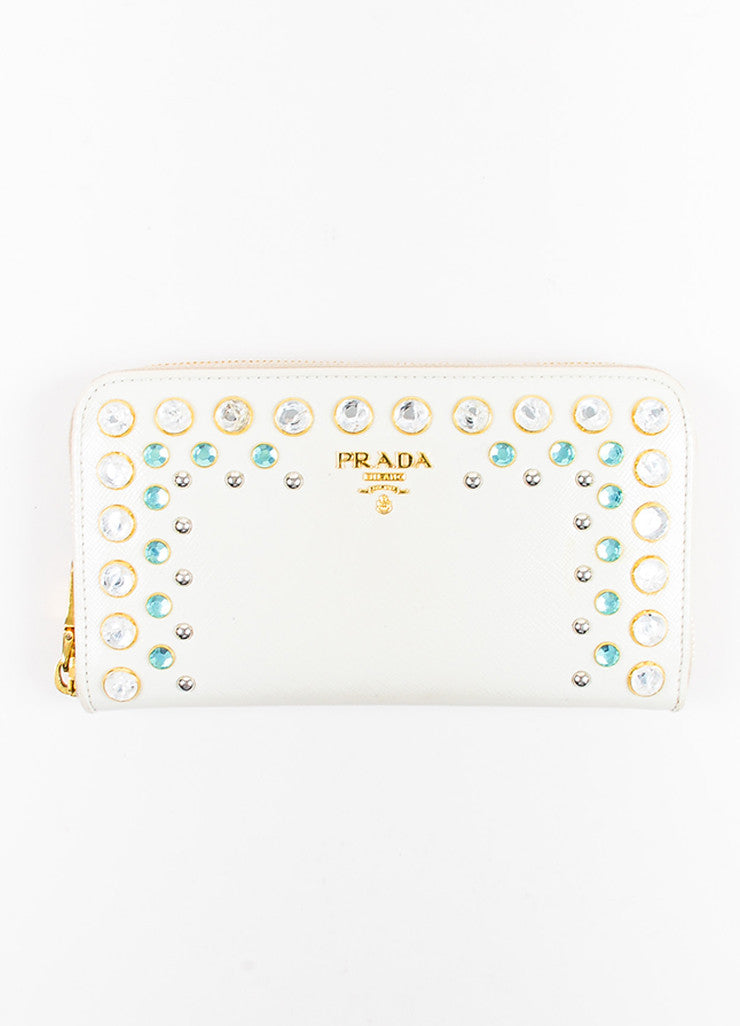 Prada Cream Saffiano Leather Rhinestone Stud Embellished Continental Wallet Frontview
