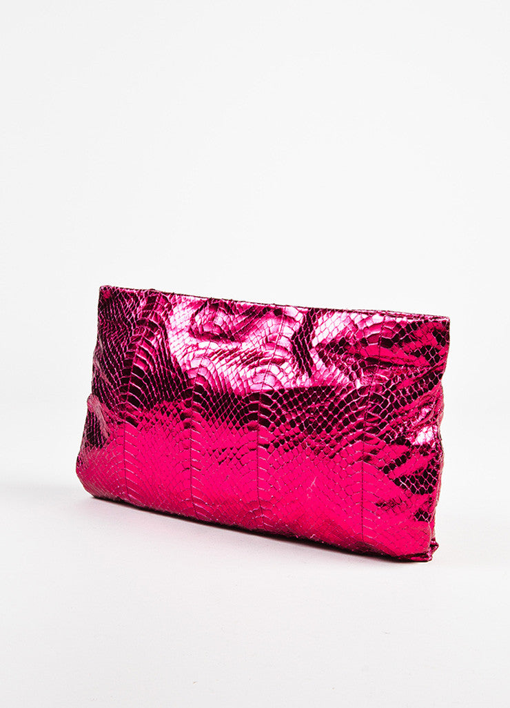 "Prada Magenta ""Ibisco Mordo"" Python Jeweled ""Whips Pietre"" Pouch Clutch Bag Sideview"