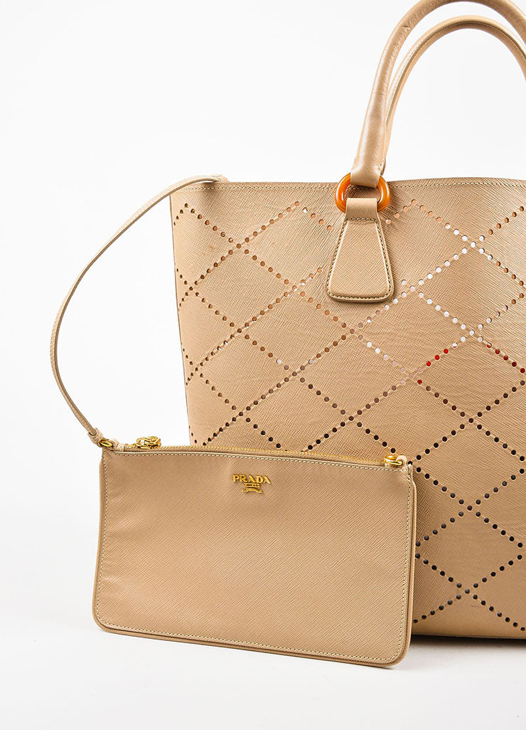 "Prada Nude Saffiano Leather Perforated ""Fori"" Tote Bag Detail 2"